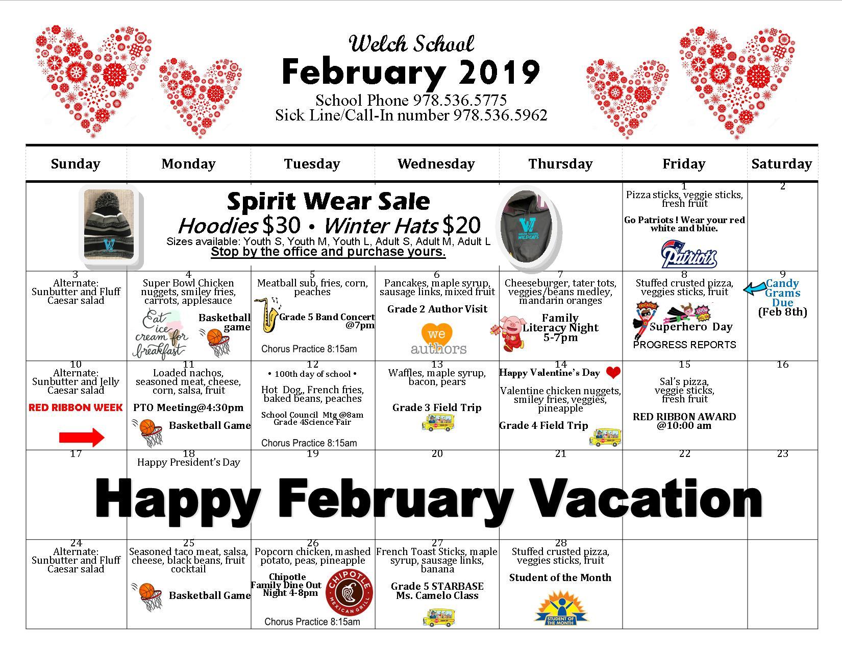 Elementary School February Calendar 2019 Welch School February Calendar : Peabody Public Schools