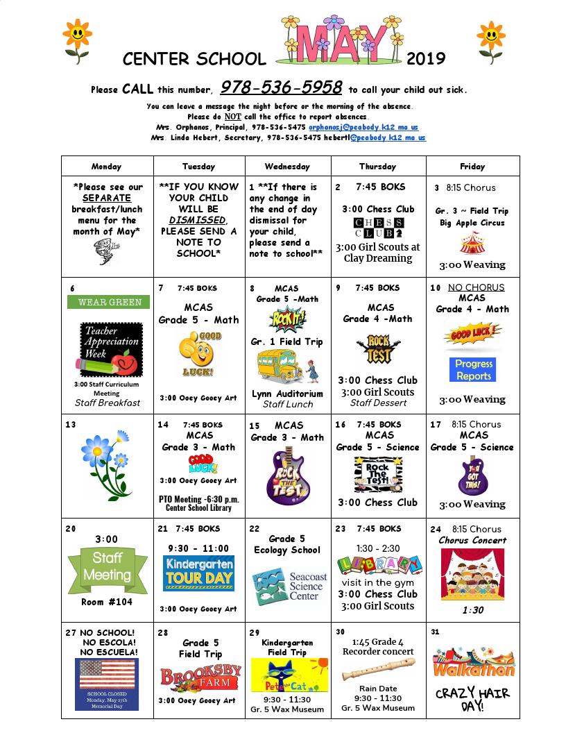 Center School May 2019 Calendar : Peabody Public Schools